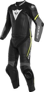 DAINESE LAGUNA SECA 4 BLACK CHARCOAL GRAY FLUO YELLOW 2PCS SUIT
