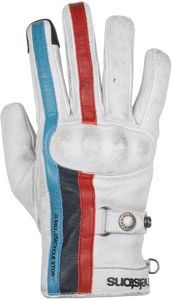 Helstons Burton Hiver Leather White Blue Red Motorcycle Gloves