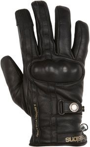 Helstons Burton Hiver Leather Black Black Motorcycle Gloves