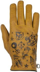 Helstons Dream Hiver Leather Gold Motorcycle Gloves