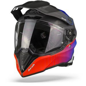 Airoh Commander Progress Casque Aventure Bleu Rouge Mat