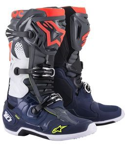 Alpinestars Tech 10 Dark Gray Dark Blue Fluo Red