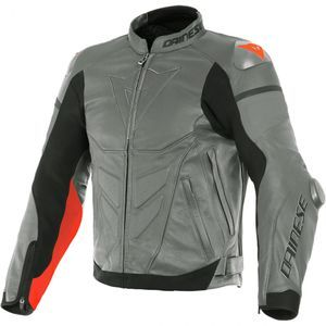 Dainese Super Race Charcoal Gray Gray Fluo Red