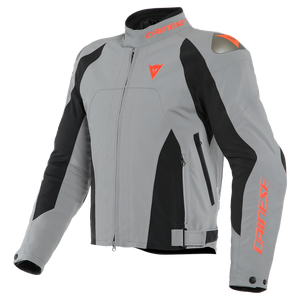 Dainese Indomita D-Dry XT Frost Chaqueta Motorista Textil Gris Negro Mate Rojo Fluo