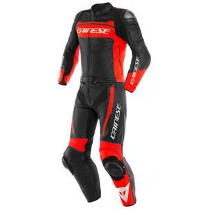 Dainese Mistel Black Matt Fluo Red Black Matt Leather 2 Piece