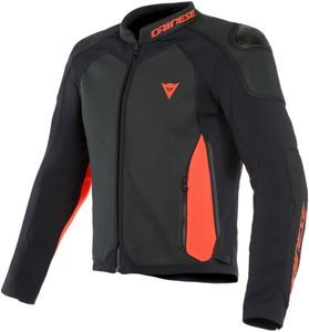 Dainese Intrepida Perforated Veste De Moto Noir Noir Mat Rouge Fluo