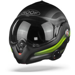 ROOF Desmo Streamline Casque Modulable Noir Mat Steel Jaune Fluo