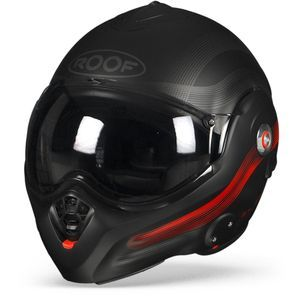 ROOF Desmo Streamline Casque De Moto Modulable Noir Mat Rouge Titan