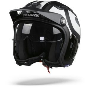Shark X-Drak 2 Thrust-R Casco Jet Negro Mate Blanco Antracita