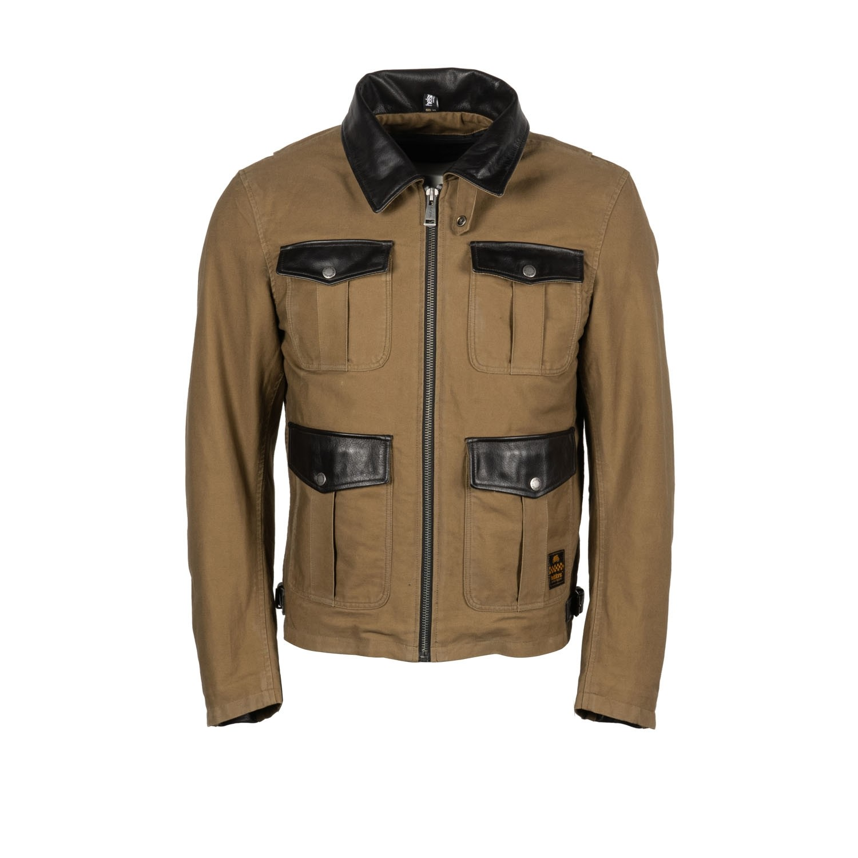 Helstons Joey Canvas Cotton Leather Kraft Brown Jacket L