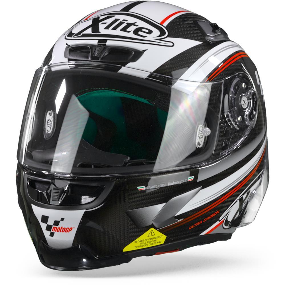 X-Lite X-803 RS Ultra Carbon Moto GP 11 Casque Intégral Carbone Noir Blanc Rouge S