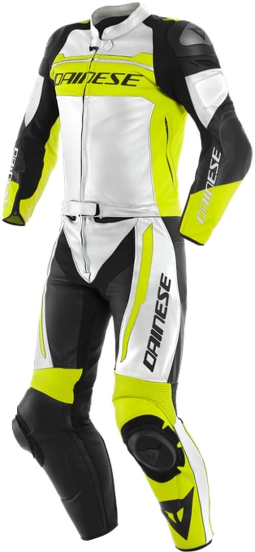 Dainese Mistel White Fluo Yellow Black Leather 2 Piece 48